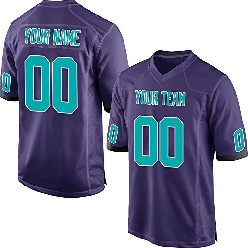 Customized Women's Purple Mesh Personalized Football Jerseys Embroidered Team Name and Your Numbers,Aqua-White Size XS