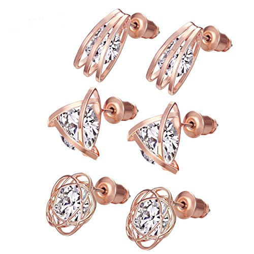 (3 Pairs CZ Stud Earrings - Womens Rose gold Broom Triangle Flowers Hollow Out Pierced Mosaic Earrings Set for Christmas )