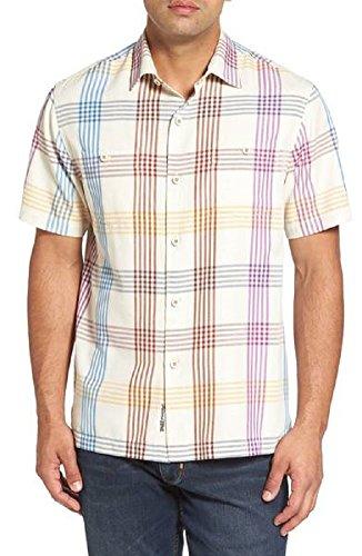 Tommy Bahama Island Zone MO Rockin Plaid Silk Blend Camp Shirt (Color Coconut Cream, Size L) (Plaid Silk Shirt)