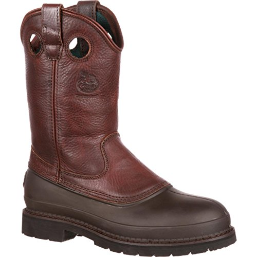 Dog Mud Steel Toe - Georgia Men's Pull-On Mud Dog Steel Toe Comfort Core Work Boot ,Brown Natural,12 W