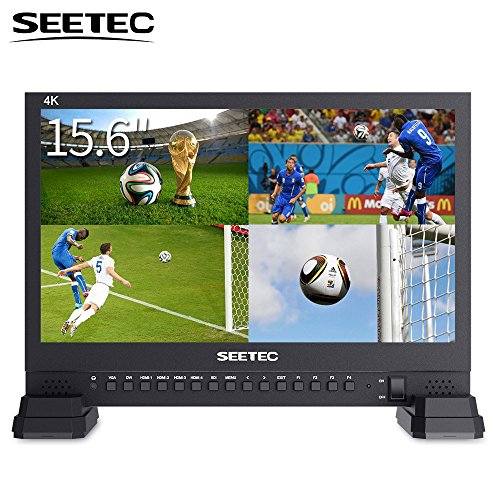 Studio Center Control Monitor - SEETEC 4K156-9HSD 15.6 Inch 3G SDI Broadcast Studio Video Monitor 4K 3840x2160 UHD IPS LCD 4x4K HDMI Quad Split Display VGA DVI for Professional Live Event Post Production Director Film Camera Field