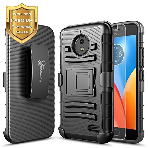 Moto G5S Plus Case, Moto G5S+ Case with [Tempered Glass Screen Protector], NageBee [Heavy Duty] Shock Proof [Belt Clip] Holster [Kickstand] Case for Motorola G5S+ / G5S Plus XT1806 5.5inch -Black