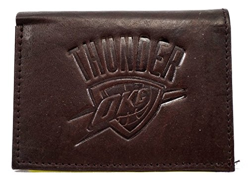 NBA Oklahoma City Thunder Tri-Fold Leather Wallet, Brown