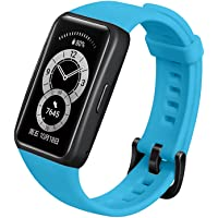 S-COLOR Silicone Band compatible with Huawei Band 6 Strap replacement , solid color bands Strap for women