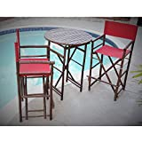 ZEW SET-016-6-08 1 High Round Table and 2 High Director Chairs, Red/Espresso For Sale