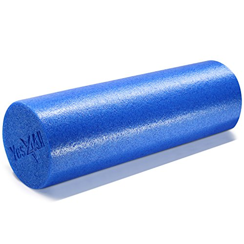 (Yes4All USA Foam Roller/High Density Foam Roller – Best for Back, IT Bands and Hamstrings – Exercise Foam Roller 18 inch (Blue) – Made in USA)