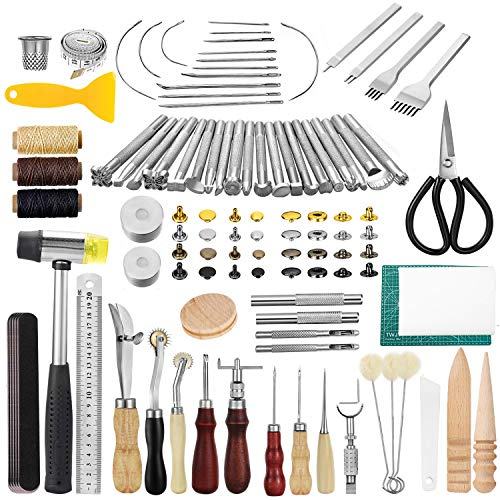 JOYPEA Leather Working Tools 195 PCS Leather Craft Stamping Tools with Cutting Mat Snaps and Rivets Kit Stitching Groover, Prong Punch for DIY Leather Craft