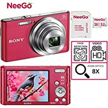 Sony DSCW830 20.1 MP Digital Camera with 2.7-Inch LCD + A NeeGo 32GB Micro SD Card (Pink)