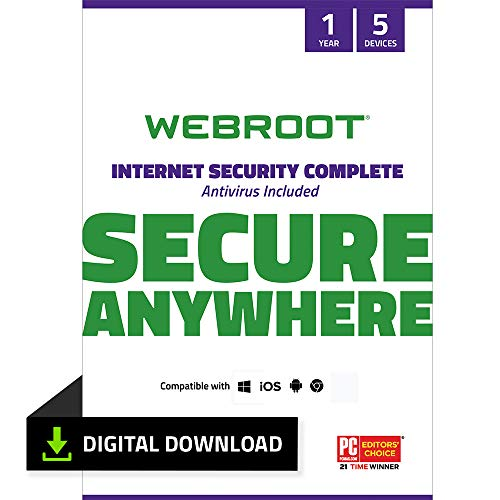 Webroot Internet Security Complete with Antivirus Protection - 2019 Software | 5 Device | 1 Year Subscription | PC Download (Best Antivirus Program For Windows 8)
