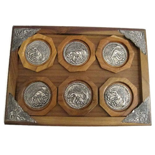 6-pcs-wooden-handmade-elephant-decorated-saucers-with-coaster