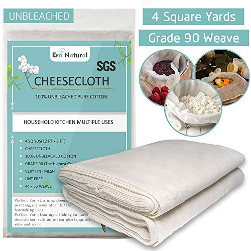 100% Unbleached Cotton Cheesecloth 4 Yards, Ultra Fine Cheese Cloths for Straining, Grade 90 Cheese Cloth Weave Fabric Filter for Cooking, Baking(SGS Certified) (White01)