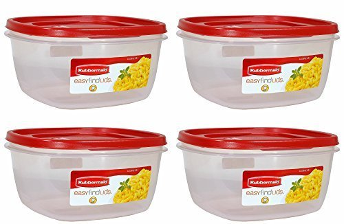 (Rubbermaid 1 687965439559 Easy Find Lid Red Food Storage Container, BPA-Free Plastic, 14 Cup Pack of 4, 4-Pack)