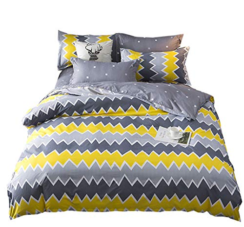 Nattey Simple Style Bed Pillowcase Duvet Cover Quilt Cover Set Twin Queen King Size Gray Yellow Color (Twin) (Cover Yellow Grey Duvet And)