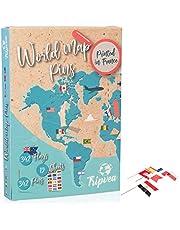 Tripvea – Picks druckpinnen vlaggen voor kaart en wereldbol in kurk - Kleine vintage vlaggen van de landen van de wereld - Mini vlag met pin voor kaart in kurk - Kleine vlagstickers met drukpinnen