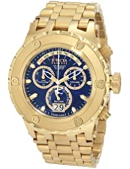 Invicta Mens 1567 Reserve Chronograph Blue Dial 18k Gold Ion-Plated Stainless Steel Watch