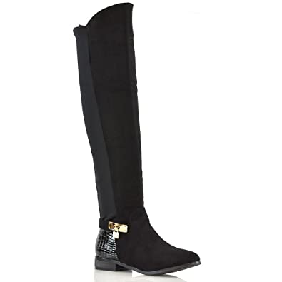 7a20926b929 ESSEX GLAM Womens Over The Knee Boots Black Crox Faux Suede Low Heel  Stretch Zip