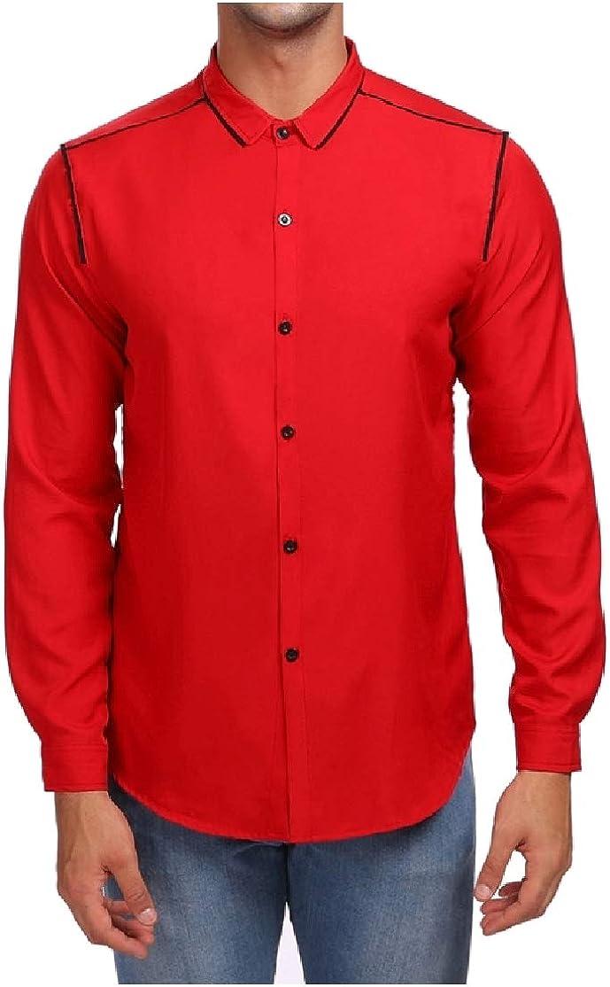 ColourfulMen Button Down Turn Down Collar Oversize Hit Color Tshirt Top Shirt