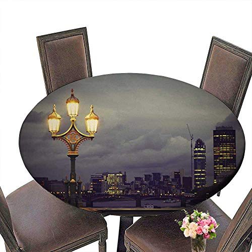 """PINAFORE Chateau Easy-Care Cloth Tablecloth Lamp on The Westminster Bridge London for Home, Party, Wedding 43.5""""-47.5"""" Round (Elastic Edge)"""