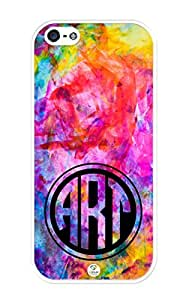 iZERCASE Monogram Personalized Colorful Art Pattern iphone 5 / iPhone 5S case - Fits iphone 5, iPhone 5S T-Mobile, AT&T, Sprint, Verizon and International (White)