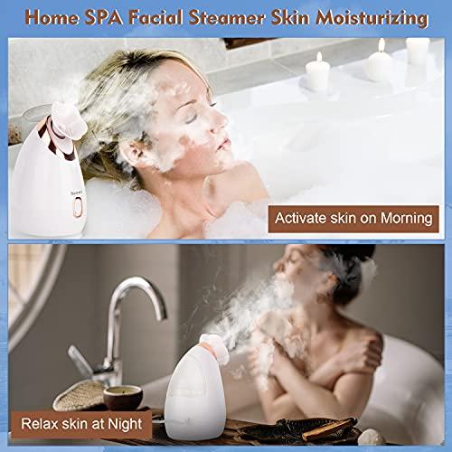 Face Steamer for Facial Nano Ionic Face Steamer Face Spa Steamer for Home Facial, Unclogs Pores, Warm Mist Humidifier Atomizer, Humidifier Moisturizing