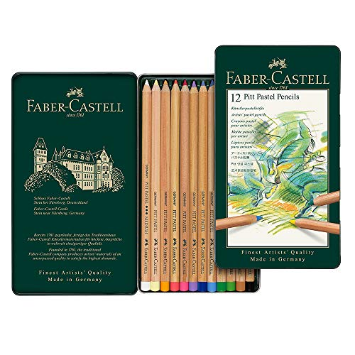 (Faber-Castel FC112112 Pitt Pastel Pencils in A Metal Tin (12 Pack), Assorted)