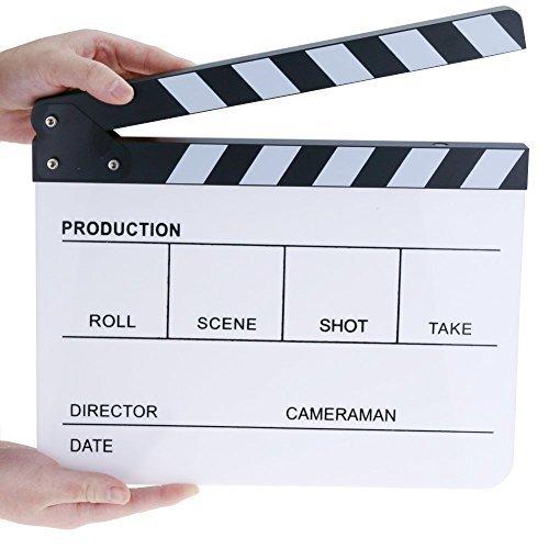 Claqueta acrílica profesional para director de cine, borrado en seco, 9.6 x 11.7 pulgadas con rallas negras/blancas