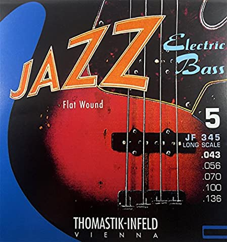 Thomastik-Infeld JF345 Bass Guitar Strings: Jazz Flat Wounds 5-String Long Scale Set; Pure Nickel Flats G, D, A, E, B (Flat Bass Guitar Strings)