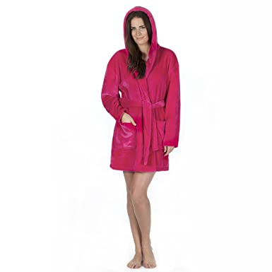 Forever Dreaming Ladies Hooded Dressing Gown Above Knee Snuggle Top ...