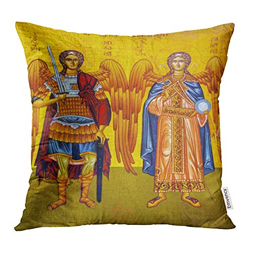 Emvency Decorative Throw Pillow Case Cushion Cover Madaba November 25 2016 Saint Michael Angels Golden George's Greek Orthodox 18x18 Inch Cases Square Pillowcases Covers for Sofa Two Sides Print