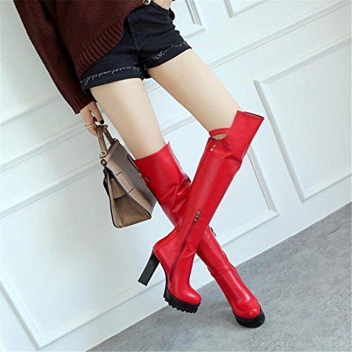 Automne Rough Artificiel Femmes Longues Antidérapant Travail Knee Bottes PU Glissière EUR37UK455 Latérale High Fête Rouge RED Noir de NVXIE Heel High Hiver wFvXZqZxA