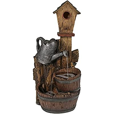 "Sunnydaze Rustic Birdhouse Outdoor Water Fountain, Patio and Garden Cascading Waterfall Feature, 31 Inch Tall - DIMENSIONS: 11 inches wide x 14 inches deep x 31 inches tall; weighs 18 pounds; Top bucket has a 2 inch depth and bottom bucket/basin has a 3 inch depth CLASSIC RUSTIC DESIGN: Made from polyresin, and designed to resemble a rustic bird house sitting behind a silver garden watering can that spills water into two wooden barrels EASY ASSEMBLY: Includes one fountain and one quiet submersible PP-333 electric pump with 0.5"" hose diameter; No plumbing is required, all you have to do is plug it into a standard electrical outlet when you are ready for it to run - patio, fountains, outdoor-decor - 51GG8Lx M0L. SS400  -"