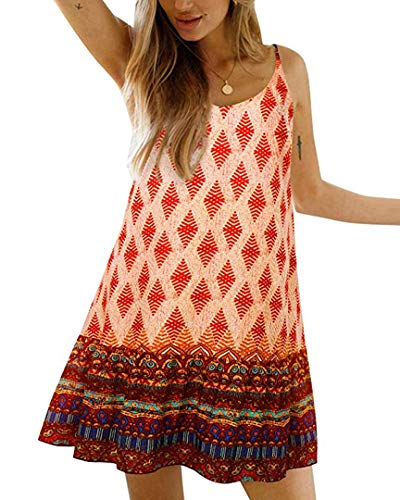 Womens Boho Floral Printed Dress Summer Cami Sleeveless Adjustable Strap Beach Mini Dress with Pockets (M, Orange) ()