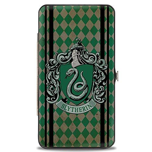 - Buckle-Down Hinge Wallet - SLYTHERIN Crest Stripes/Diamonds Greens/Black