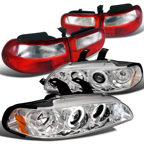 Honda Civic 3Dr Chrome Halo LED Projector Headlights+Red/Clear Tail (1992 Honda Civic Si Hatchback)