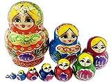 Gorgeous Orange Little Girl Princess Colorful Varnished Handmade Wooden Russian Nesting Dolls Matryoshka