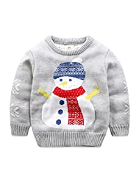 Baby Boys Girls Toddler Long Sleeve Christmas Snowman Pullover Sweater Sweatshirt