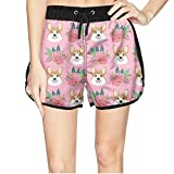 Girls I Love My Corgi Cute Animal Lover Flowers Beach Elastic Shorts