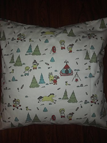"""COWBOY & FRIENDS western, scoots Campfire 18""""x 18"""" Throw Pillow Cover, Cushion, Accent Pillow, Invisible zipper, Cushion Cover - SALE Square kids theme"""