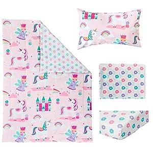 Bloomsbury Mill – 4 Piece Toddler Comforter Set – Magic Unicorn, Fairy Princess & Enchanted Castle – Pink – Kids Bedding Set