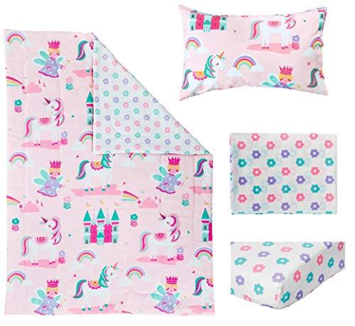 Bloomsbury Mill - 4 Piece Toddler Comforter Set - Magic Unicorn, Fairy Princess & Enchanted Castle - Pink - Kids Bedding Set 2