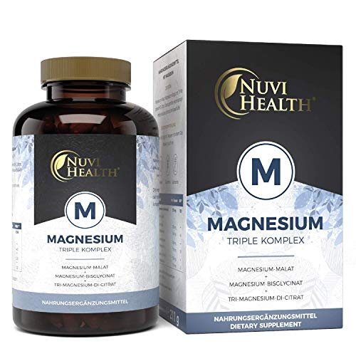 Nuvi Health® Magnesium Komplex - 240 Kapseln - 2250 mg davon 375 mg elementares Magnesium pro Tagesportion - Magnesiumbisglycinat Magnesiumcitrat Magnesiummalat - Hochdosiert - Laborgeprüft