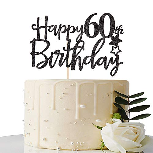 Black Happy 60th Birthday Cake Topper,Hello 60, Cheers to 60 Years,60 & Fabulous Party Decoration -