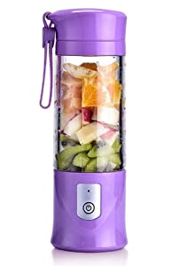 USB Electric Safety Juicer Cup, Fruit Juice mixer, Mini Portable Rechargeable/Juicing Mixing Crush Ice and Blender Mixer,420-530ml Water Bottle (Purple)