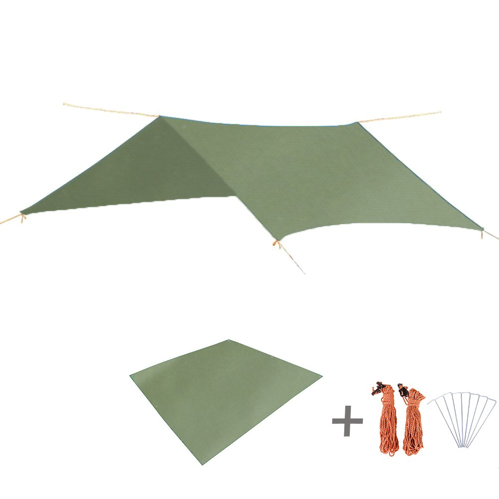 TRIWONDER Waterproof Rain Fly Hammock Camping Shelter Tent Tarp Footprint Sunshade Mat for Hiking Backpacking Beach Picnic (Green+Accessories) by TRIWONDER