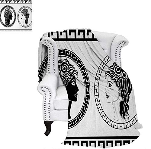 - Weave Pattern Blanket Roman Aristocrat Woman Profiles Circular Classical Frames Hairstyle Beauty Custom Design Cozy Flannel Blanket 70