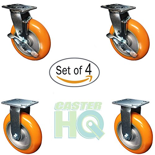 4 Pack - 8'' x 2'' Non-Marking Orange Tread Polyurethane Casters - 2 Swivel with Brakes and 2 Rigids - Heavy Duty Casters by CasterHQ (Image #2)