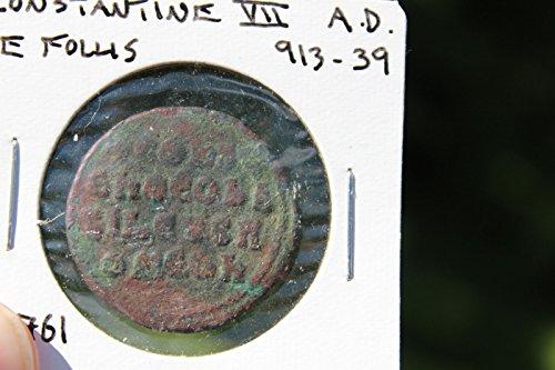 Byzantine bronze coin AE follis, Constanine VII, 913-939 AD