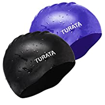 2Pcs Swimming Caps, Turata Comfortable Unisex Silicone Swim Caps with Full Ear Protection for Men Women Youth Kids, Black+Blue