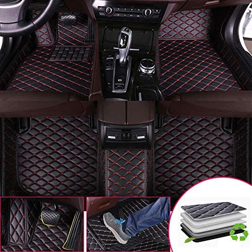 Custom Car Floor Mats for Chevrolet for Chevy Corvette C5 Coupe 1997-2003 Full Surrounded Protection Luxury Leather Material Wear Resistant Car mat Carpet Liners Black Red