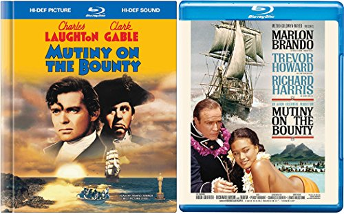 Mutiny on the Bounty (1935) Blu Ray Book Edition + 1962 Marlon Brando War 2 Pack Military Movie Action Double Feature Clark Gable Set